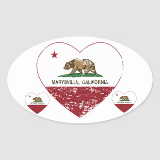 california flag marysville heart distressed oval sticker