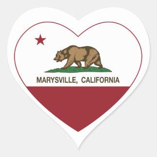 california flag marysville heart heart sticker