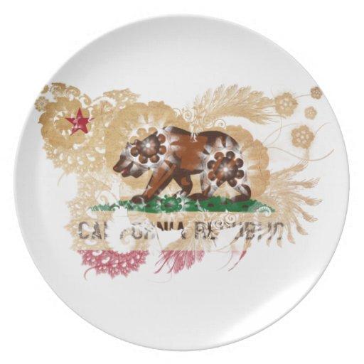 California Flag Melamine Plate