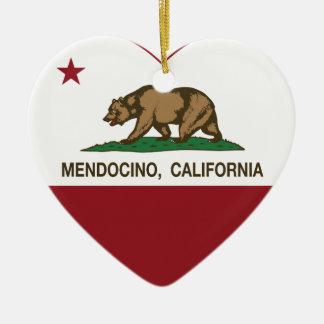 california flag mendocino heart Double-Sided heart ceramic christmas ornament