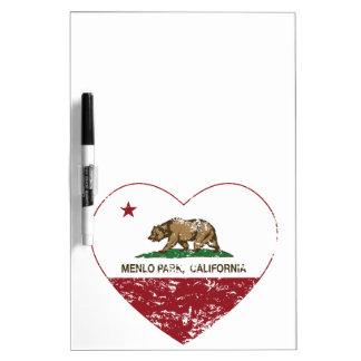 california flag menlo park heart distressed Dry-Erase board