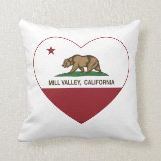 california flag mill valley heart throw pillow