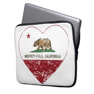 california flag moffett field heart distressed laptop computer sleeves
