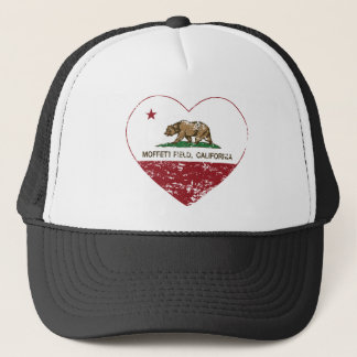 california flag moffett field heart distressed trucker hat