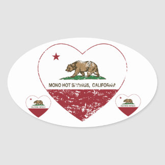 california flag mono hot springs heart distressed oval sticker