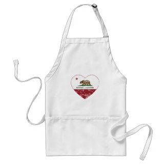 california flag monterey heart distressed adult apron