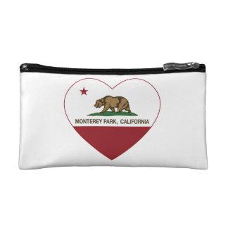 california flag monterey park heart makeup bag
