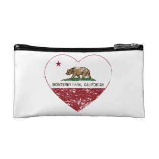 california flag monterey park heart distressed cosmetics bags
