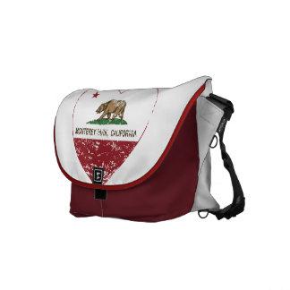 california flag monterey park heart distressed messenger bags