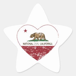 california flag national city heart distressed sticker