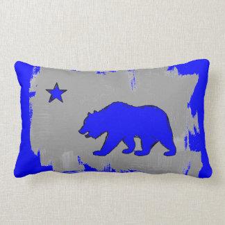 California flag neon blue bear decor pillow