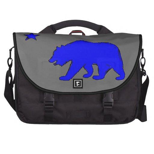 California flag neon blue bear laptop bag