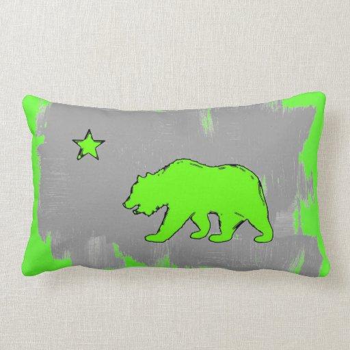 California flag neon green bear decor pillow