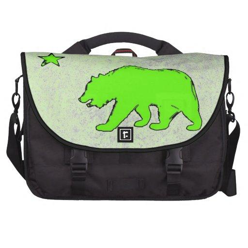 California flag neon green bear laptop bag