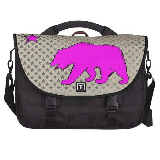 California flag neon pink bear laptop bag