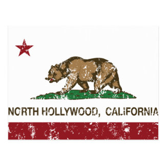 california flag north hollywood distressed postcard