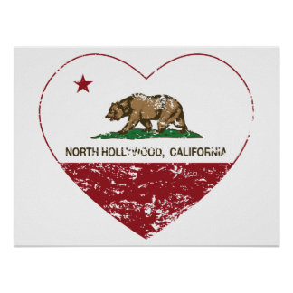 california flag north hollywood heart distressed print