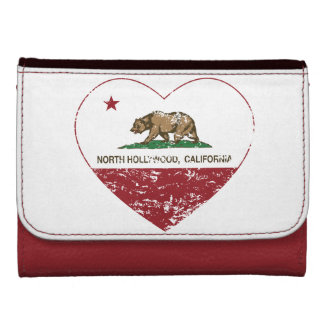 california flag north hollywood heart distressed wallets for women
