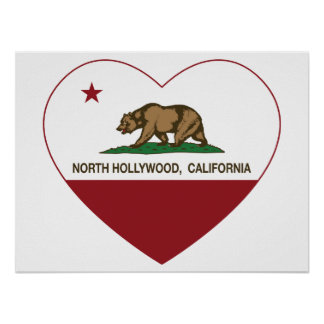 california flag north hollywood heart posters