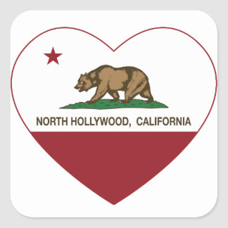 california flag north hollywood heart square sticker