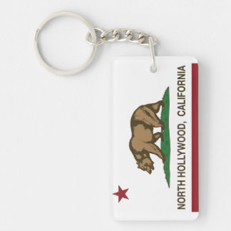 california flag north hollywood Double-Sided rectangular acrylic keychain