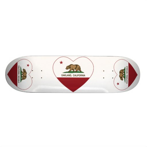 california flag oakland heart custom skateboard