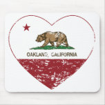 california flag oakland heart distressed mouse pad