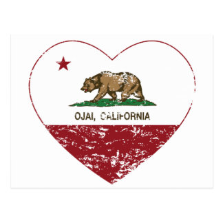 california flag ojai heart distressed postcard