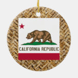 California Flag on Textile themed Double-Sided Ceramic Round Christmas Ornament