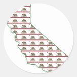 California Flag Outline Classic Round Sticker
