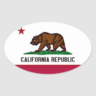 California Flag Oval Sticker