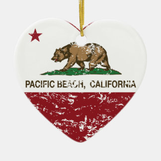 california flag pacific beach heart distressed christmas tree ornament