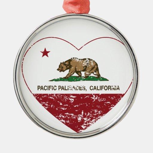 california flag pacific palisades heart dist christmas tree ornaments