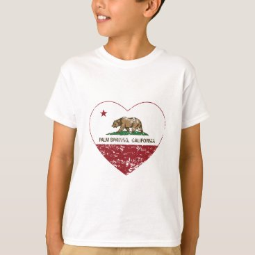 Valentines Themed california flag palm springs heart distressed T-Shirt