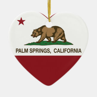 california flag palm springs heart Double-Sided heart ceramic christmas ornament