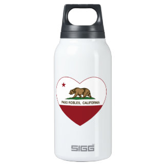 california flag paso robles heart thermos water bottle