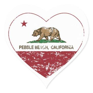 LgTshirts california flag pebble beach heart distressed heart sticker
