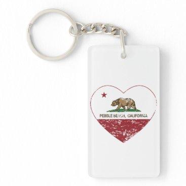 LgTshirts california flag pebble beach heart distressed keychain