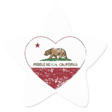 LgTshirts california flag pebble beach heart distressed star sticker