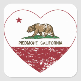 california flag piedmont heart distressed square sticker