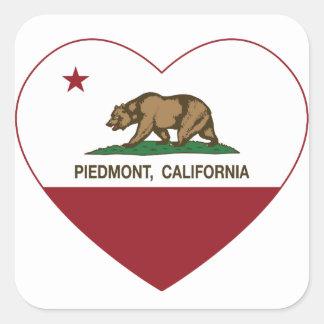 california flag piedmont heart square sticker