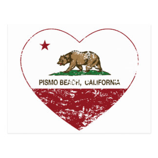california flag pismo beach heart distressed postcard