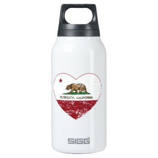 california flag plymouth heart distressed insulated water bottle