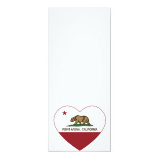 california flag point arena heart 4x9.25 paper invitation card