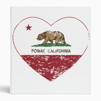 california flag poway heart distressed 3 ring binder
