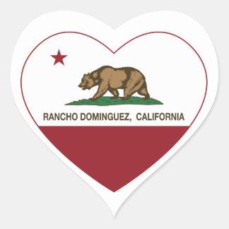 california flag rancho dominguez heart heart sticker
