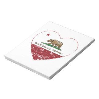 california flag rancho santa fe heart distressed notepad