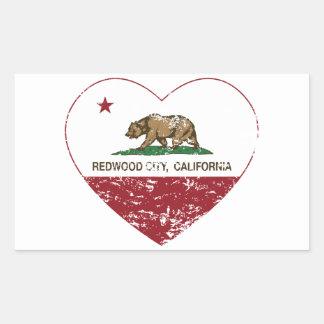 california flag redwood city heart distressed rectangular sticker