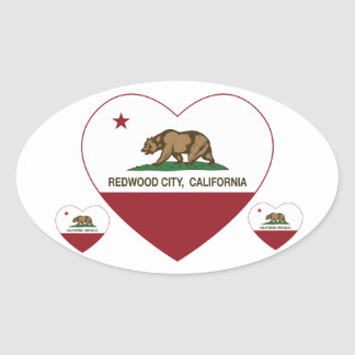california flag redwood city heart oval sticker