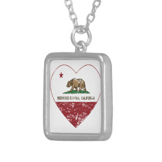 california flag redwood shores heart distressed necklaces